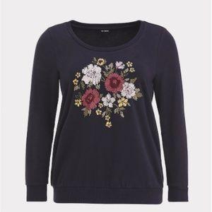 NWT Torrid Floral Embroidered Sweatshirt 4X